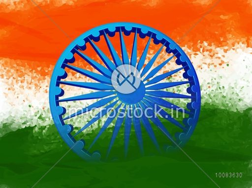 Creative Watercolor Indian Flag Background For Indian: Glossy 3D Ashoka Wheel On Creative Indian Flag Colour