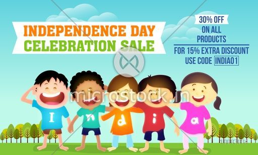 Independence Day Celebration Sale And Discount Beautiful Background With Cute Kids Wearing T