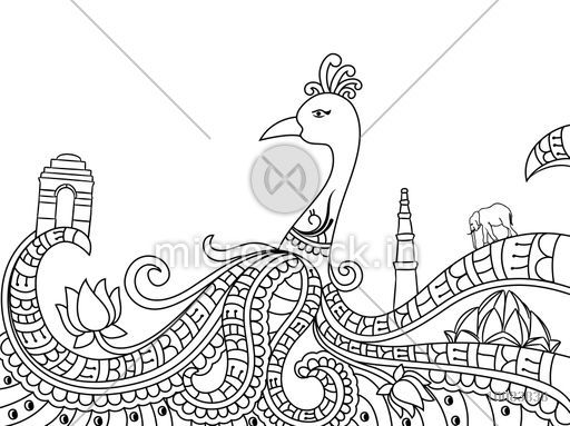 Line Drawing Of Qutub Minar : Creative line art design of indian national bird peacock