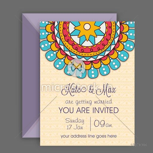 Beautiful Wedding Invitation Card with colorful floral design and envelope.