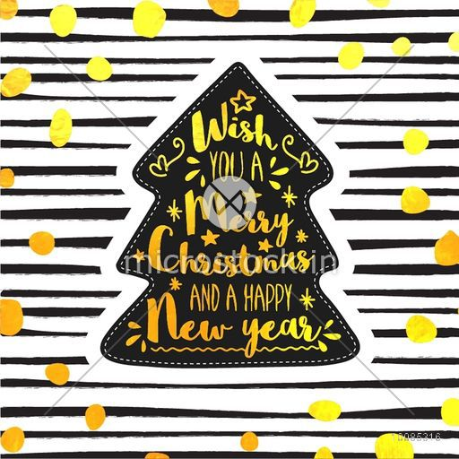 Golden text Wish You A Merry Christmas and A Happy New Year on abstract background.