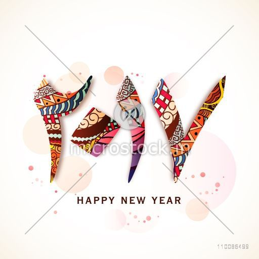 Colorful Arabic Islamic Calligraphy of text 2017 on shiny background   Elegant greeting card design for Happy New Year celebration