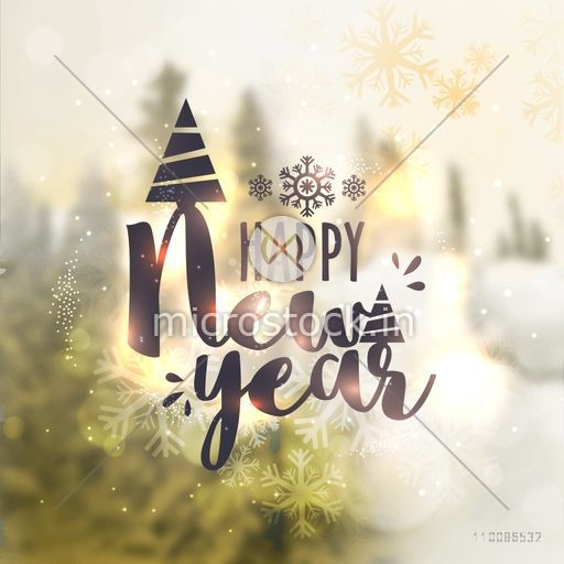 happy new year celebration greeting card design beautiful blurred nature background creative vector illustration