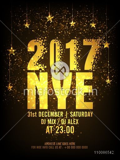 Golden Text 2017 NYE New Year Eve On Hanging Stars Decorated Background Creative