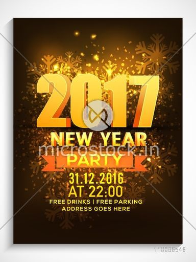 3d Text 2017 On Shiny Snowflakes Background Creative Template Banner Flyer Or Invitation Card Design For New Year Party Celebration