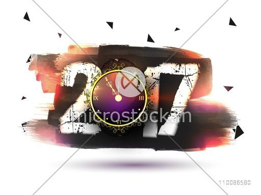 Creative text 2017 with clock on abstract brush strokes background for Happy New Year celebration.