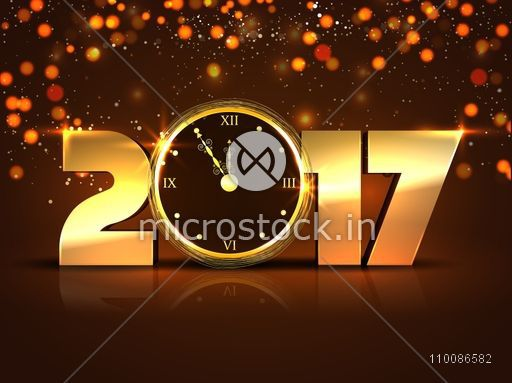 3D golden text 2017 with clock. Glowing festive holiday background. Creative vector illustration for Happy New Year celebration.