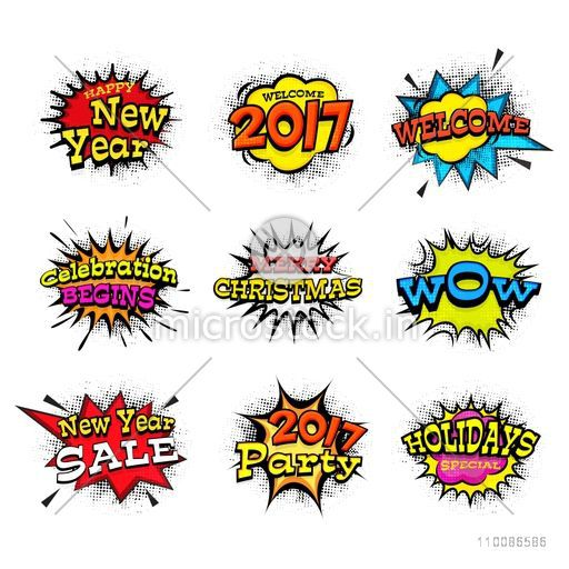Creative different typographic collection on pop art explosion for Happy New Year and Merry Christmas celebration.