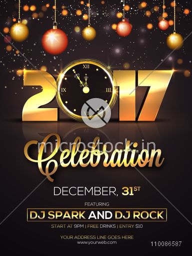 new year celebration golden text 2017 with clock on hanging xmas balls decorated background creative glowing template