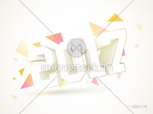 Creative 3D Text 2017 on abstract background for Happy New Year celebration.