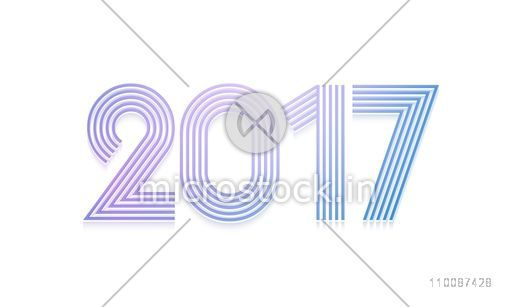 Creative Text 2017 for Happy New Year celebration, Party celebration poster, banner or flyer design.
