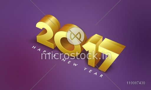 3D Golden Text 2017 on shiny background, Happy New Year Party celebration Poster, Banner or Flyer.