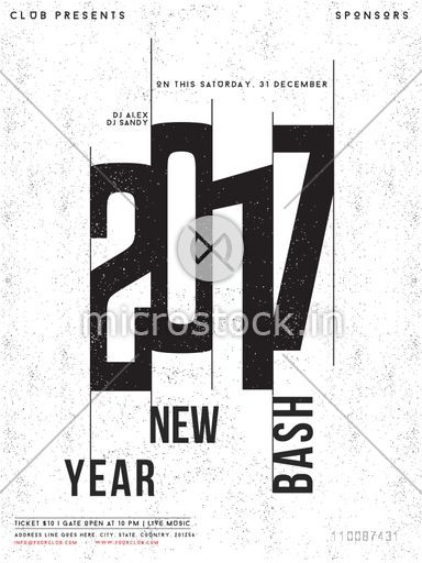 Creative Template, Banner, Flyer or Invitation Card design for 2017 New Year Bash celebration.