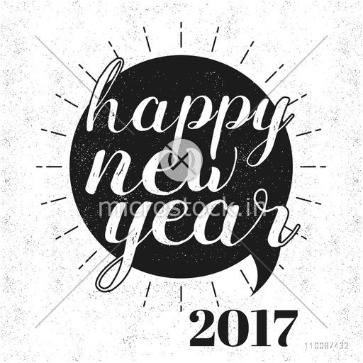 Stylish text Happy New Year 2017 on grungy background, Vector greeting card design.
