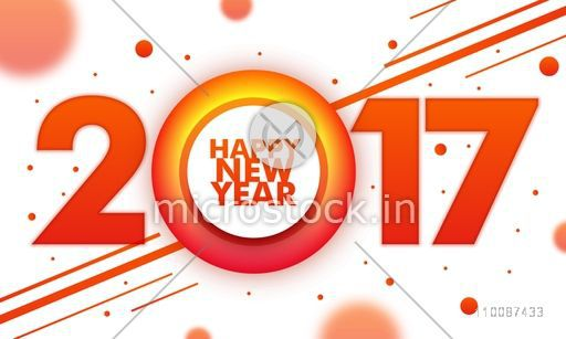 Creative Text 2017 on abstract background, Elegant greeting card design for Happy New Year celebration.