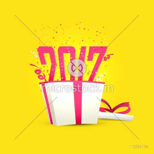 Text 2017 coming out from a gift box on yellow background, Happy New Year celebration poster, banner or flyer design.