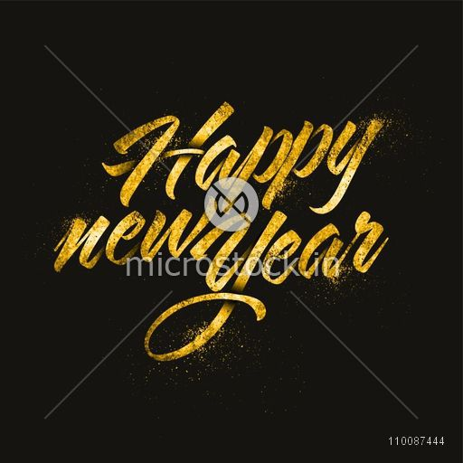 Creative Golden Text Happy New Year on black background, Party celebration poster, banner or flyer design.