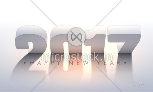 3D Text 2017 on shiny background, Happy New Year Party celebration Poster, Banner or Flyer design.
