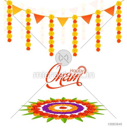 Elegant Greeting Card Design Decorated With Beautiful Flower Rangoli For South Indian Festival Happy Onam