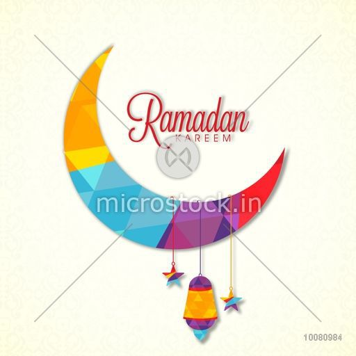 Creative Colourful Crescent Moon With Hanging Stars And Lamp For Holy Month Of Muslim Community