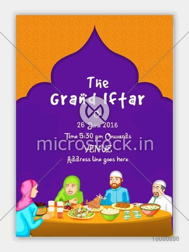 The grand iftar invitation card design with illustration of a happy the grand iftar invitation card design with illustration of a happy family enjoying delicious food stopboris Image collections