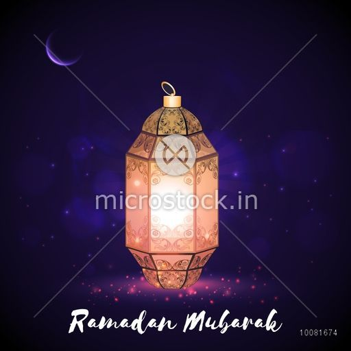 Beautiful illuminated Lamp on night background for Holy Month of Muslim Community, Ramadan Mubarak celebration.
