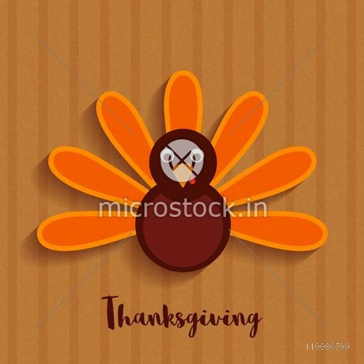 Cute Turkey Bird On Brown Background For Happy Thanksgiving Day Celebration