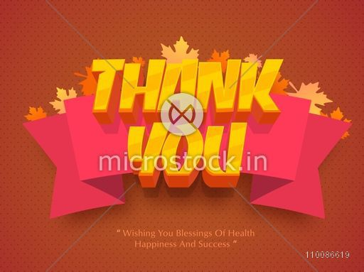 3D golden text Thank You with big ribbon on maple leaves decorated background, Elegant greeting card design for Happy Thanksgiving Day celebration.