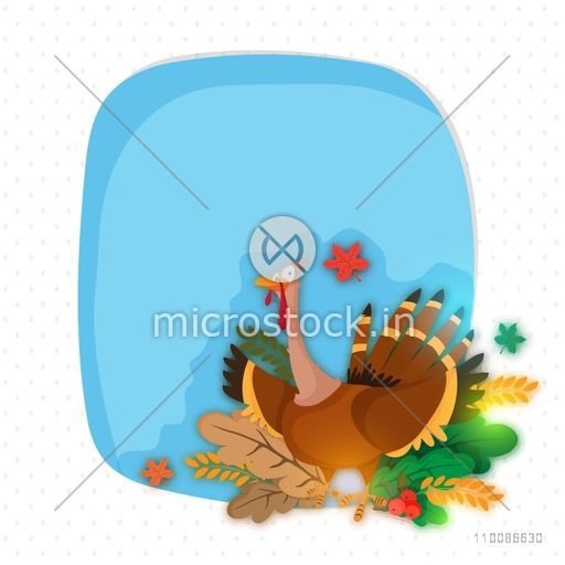 Elegant greeting card design with illustration of a turkey bird for Happy Thanksgiving Day celebration.