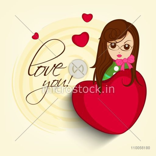 Young Girl Cartoon With Red Hearts And Text Love You On Yellow