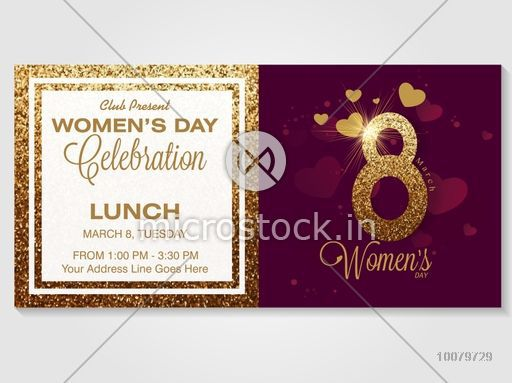 Golden Text 8 March On Hearts Decorated Background Creative Invitation Card Design For Womens Day