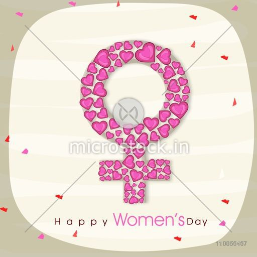 Pink Hearts Decorated Female Symbol For International Womens Day
