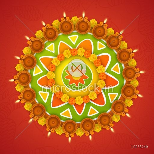 Colourful Rangoli With Flowers And Illuminated Oil Lit Lamps On Floral Decorated Background For Indian Festival