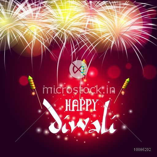 Elegant Festive Background with Firecrackers or Fireworks, Beautiful Greeting Card, Vector Illustration for Indian Festival of Lights, Happy Diwali Celebration.