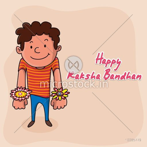 Cute little boy showing his rakhi for Indian festival of brother and sister love, Happy Raksha Bandhan celebration.