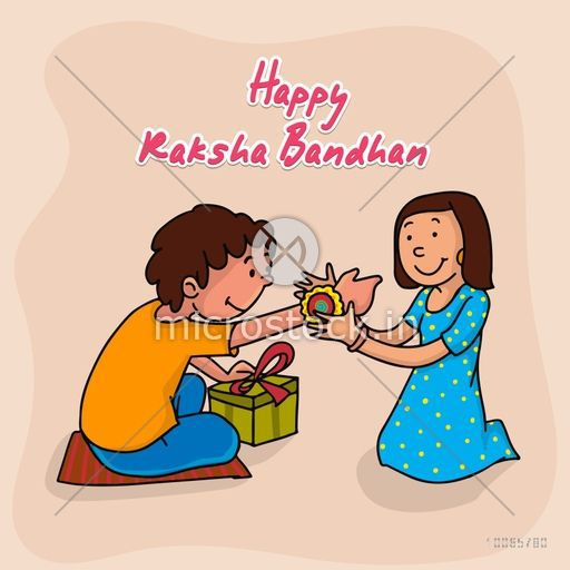 Cute little sister tying rakhi to her brother's wrist on occasion of Indian festival, Raksha Bandhan celebration.
