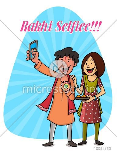 Time to take selfie, Happy brother and sister taking selfie on blue rays background for Indian festival, Raksha Bandhan celebration.