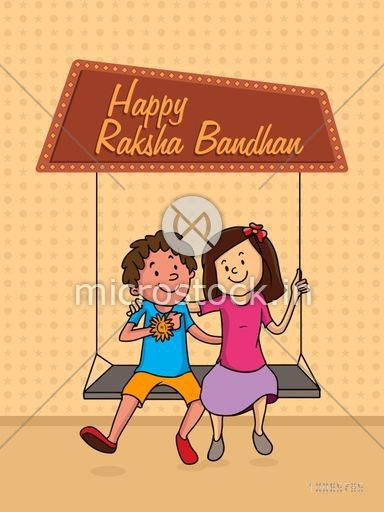 Cute little brother and sister swinging and enjoying Raksha Bandhan festival.