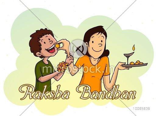 Cute little sister feeding sweet to her brother while celebrating Raksha Bandhan festival on stylish background.