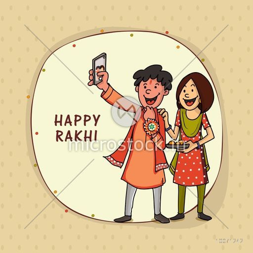 Stylish frame with illustration of happy brother and sister taking selfie after celebrating Raksha Bandhan festival.