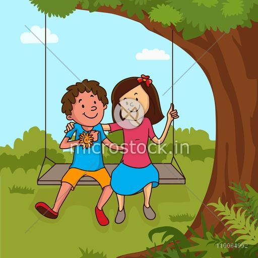 Cute little brother with his sister enjoying and swinging on nature background on occasion of Happy Raksha Bandhan celebration.