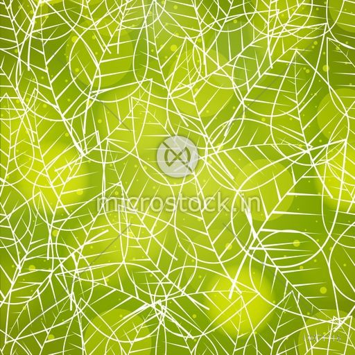 White line art leaves seamless pattern on shiny green background.