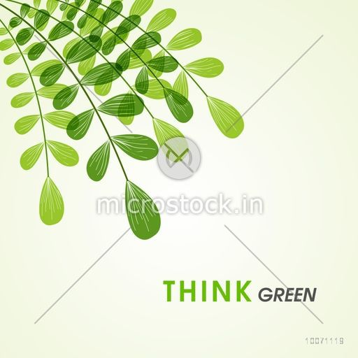 Save nature concept with green leaves and stylish text Think Green.
