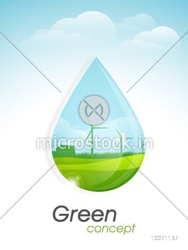 View of a green city in water drop on cloudy background, can be used as template, banner or flyer design for Nature.