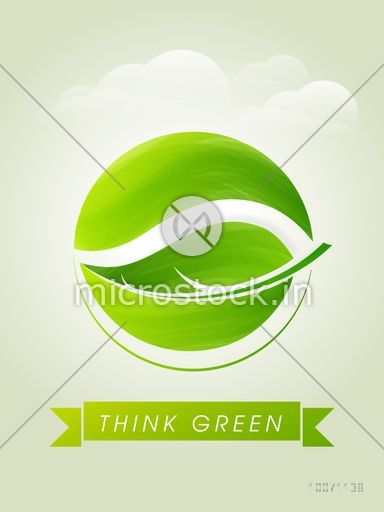 Stylish template, banner or flyer design with fresh leaf on cloudy background for Think Green concept.