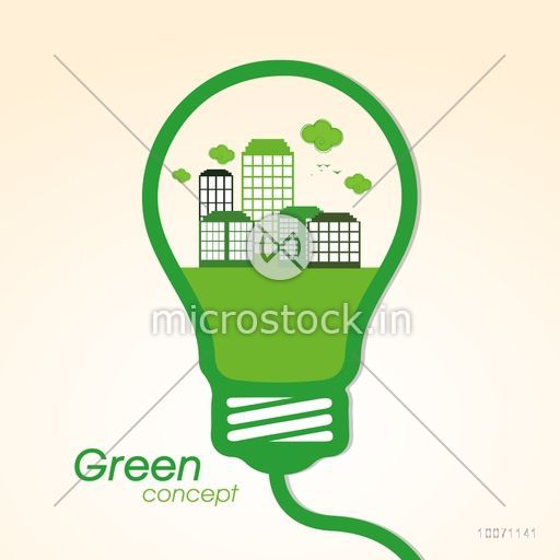 View of a green city in light bulb on shiny background for Save Nature on Go Green concept.