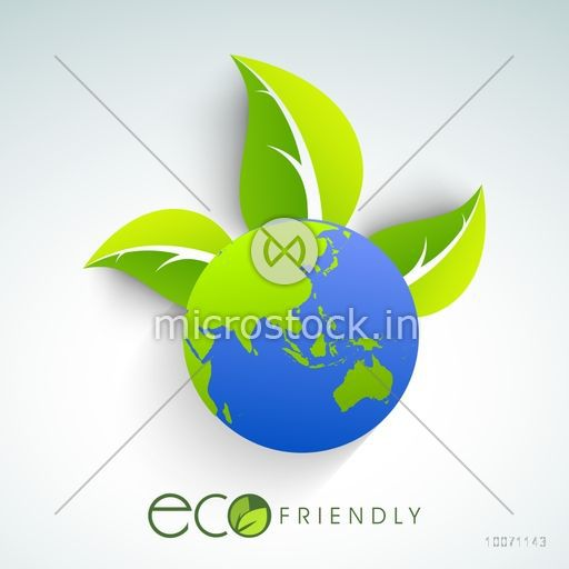 Shiny globe with fresh green leaves for Eco Friendly concept.