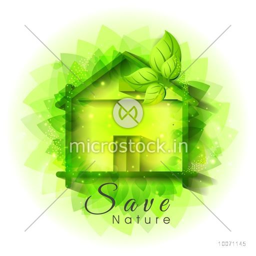 Stylish green hut with fresh leaves on floral design decorated background for Save Nature.