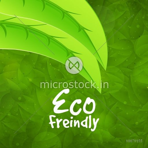 Creative pattern with fresh green leaves for Eco Friendly concept, can be used as poster, banner or flyer design.