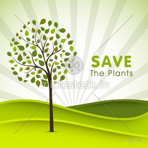 Creative poster, banner or flyer design with illustration of a green tree on rays background for Save the Plants.